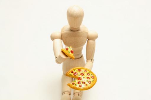 ピザを食べてダイエットができない人(中央配置・クリーム色背景)