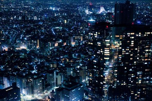 Tokyo Night view Scenic view of light 3 Blue