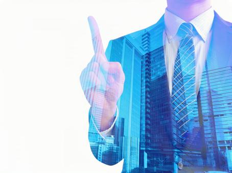 Man pointing to business point-cityscape background