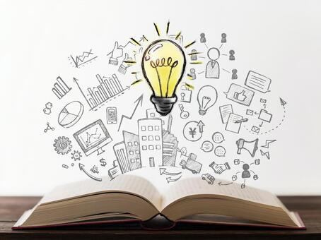 Idea book business study light bulb