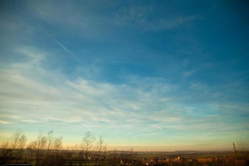 Sundown and blue sky gradation