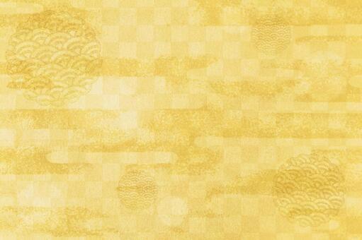 Japanese pattern background gold