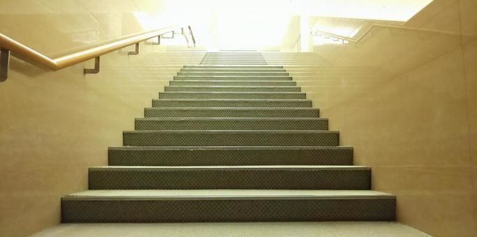 At the end of the stairs ...