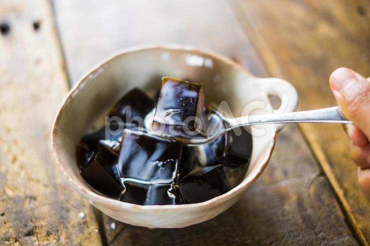 コーヒーゼリーを食べるの写真