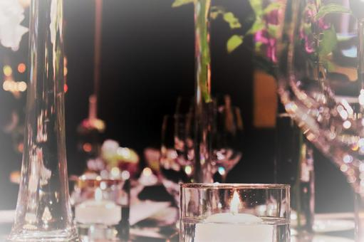 Table candles inspired by a wedding reception