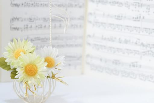 Music image / flowers, notes, sheet music