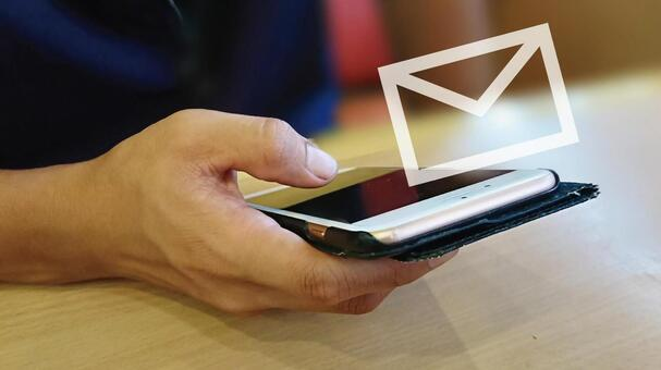 Hand and mail mark to operate smartphone