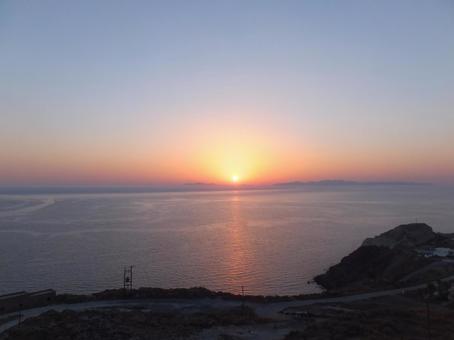 석양 산토리니 섬 그리스