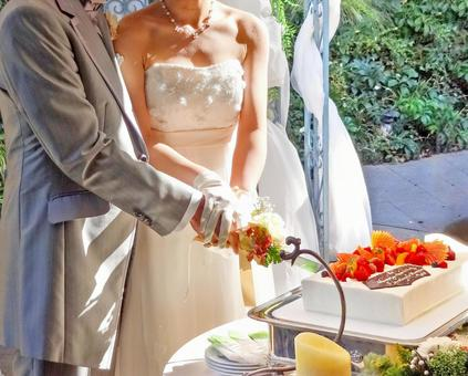 The bride and groom cake entering sword