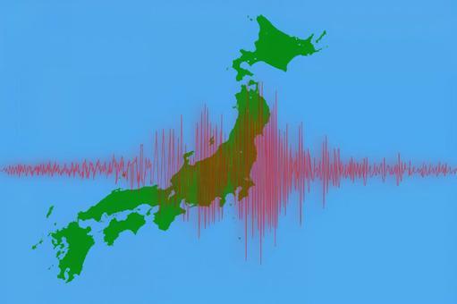 Japan map and waveform