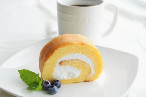 Home cafe with roll cake