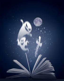 보름달 밤에 열려있는 책에서 나오는 고스트