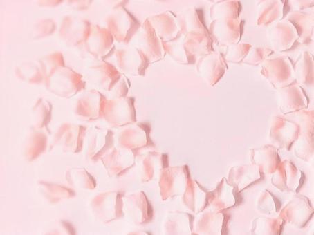 Pink heart flower frame