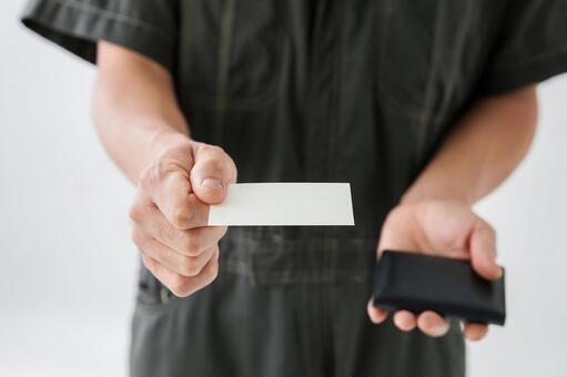Male working wearing business cards