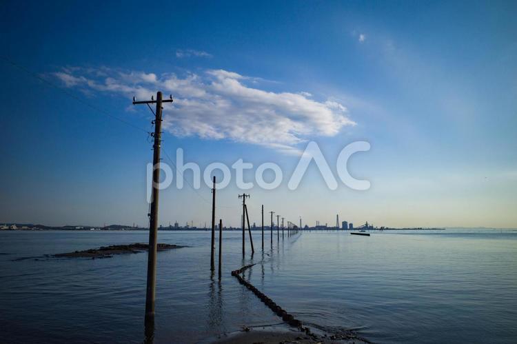 江川海岸の海中電柱の写真