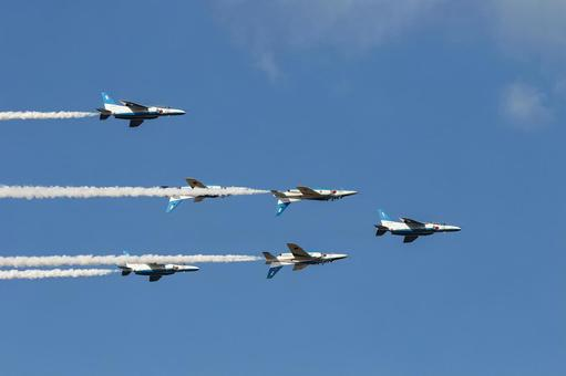 Air Self-Defense Force Blue Impulse flying in formation