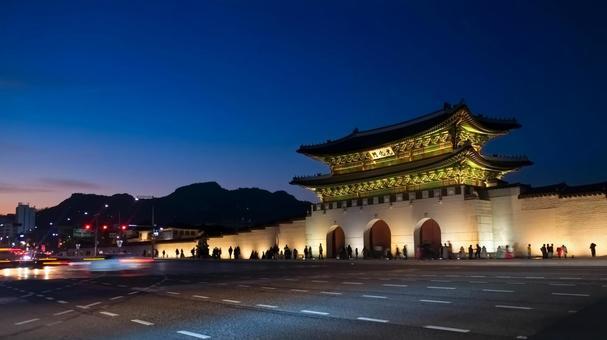 韓國首爾景福宮景福宮光華門夜景