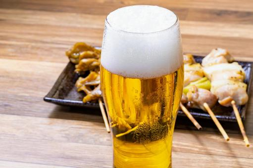 Yakitori on beer