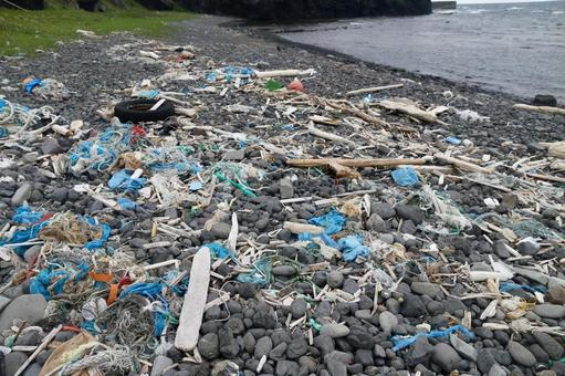 Garbage thrown into the shore