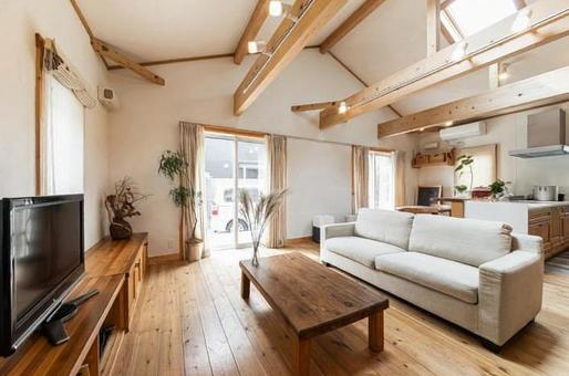 Living room in a house with impressive wood and skylights