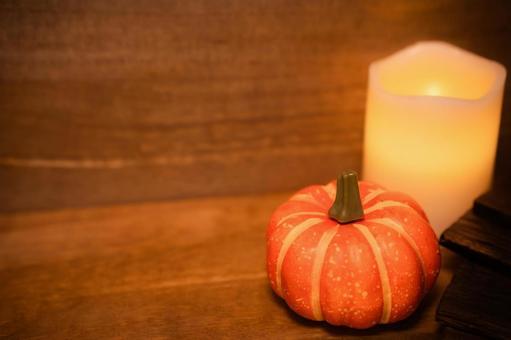 Pumpkin candle autumn
