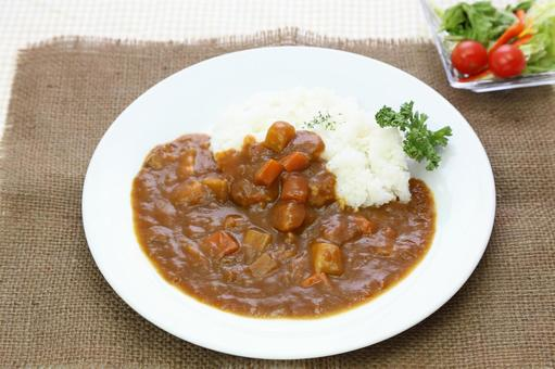 Curry and rice and salad 6
