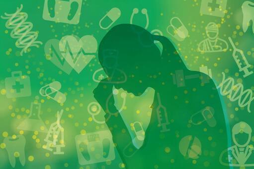 건강에 스트레스를 안고있는 여자 - 녹색 배경