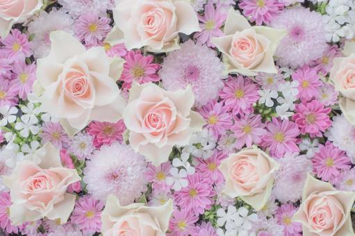 玫瑰,媽媽,石竹。粉色插花