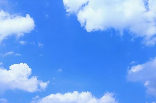Blue sky and cloud center margin Sky background material with copy space