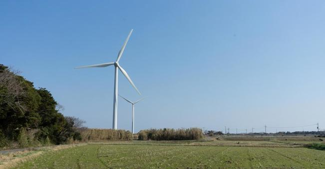 Landscape with wind power generator