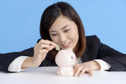Female saving money 4