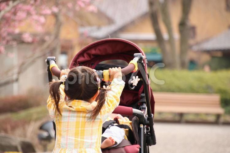 ベビーカーを押す女の子の写真