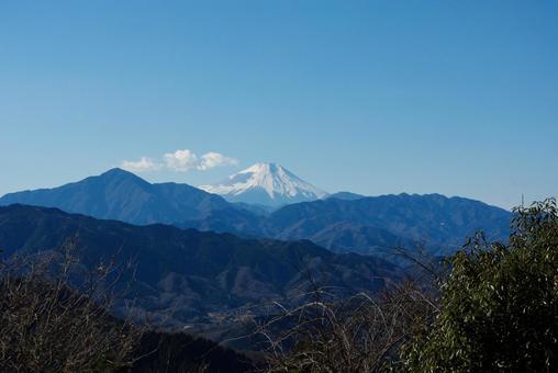 다카오 산 정상에서 보이는 후지산