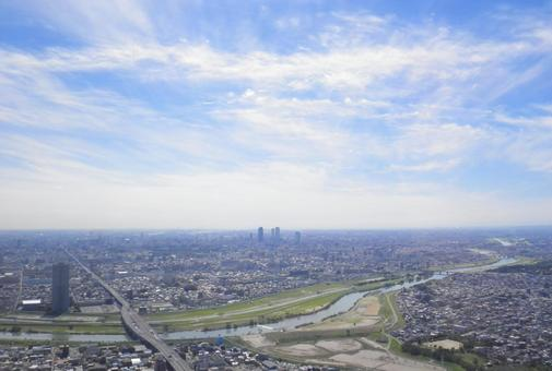 Nagoya city taken aerial from the north
