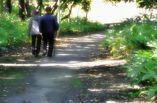 Walking around a friendly couple