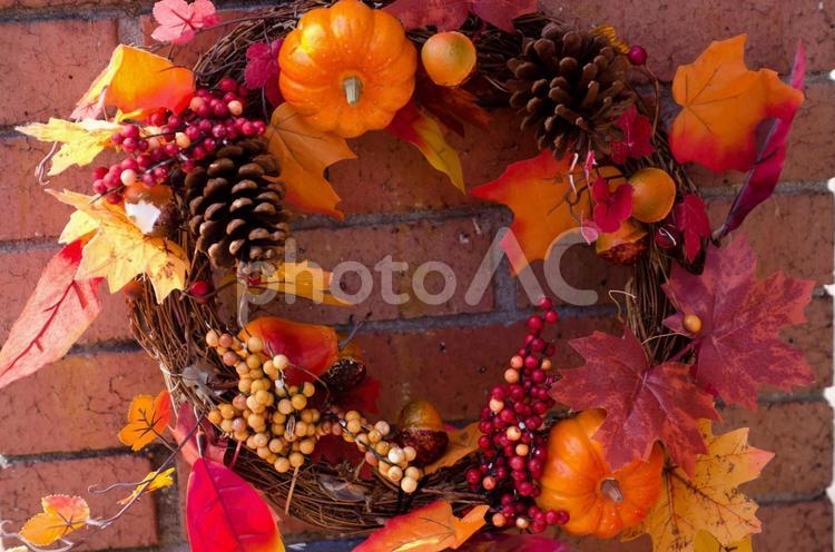 秋のリースの写真