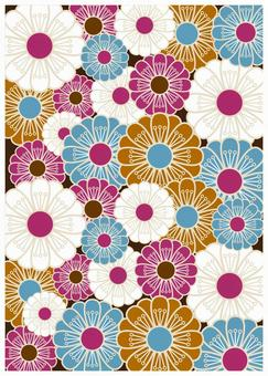 Japanese Pattern Texture Manju Chrysanthemum Aqua Color
