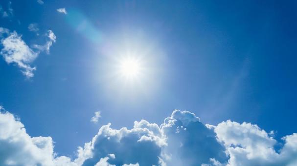 藍天和太陽夏季材質UV/陽光圖像(以太陽為中心)