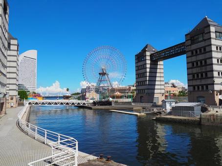 요코하마 항 운하 푸른 하늘