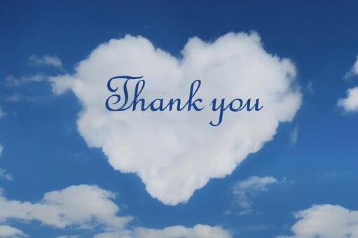 Heart shaped cloud and thank you message