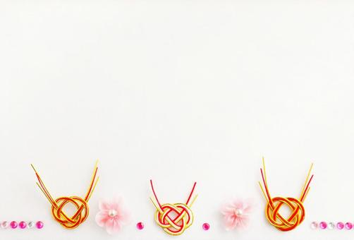Mizuhiki and spring flowers and beads background