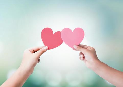 粉紅色和紅色的心