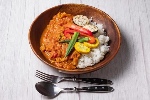 Summer vegetable spice curry white table