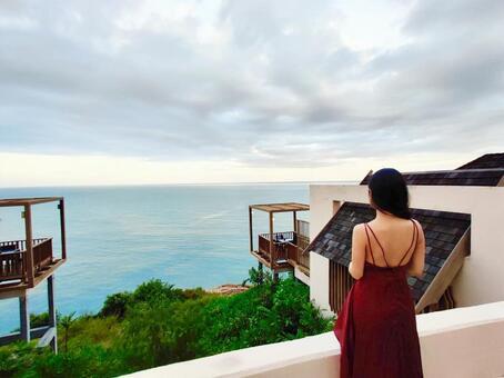 Travel woman resort