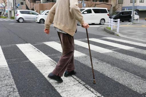 Elderly people and crosswalk