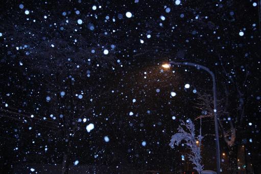 Streetlights with snowflakes