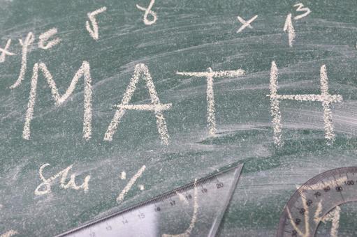 Blackboard, protractor and triangular ruler