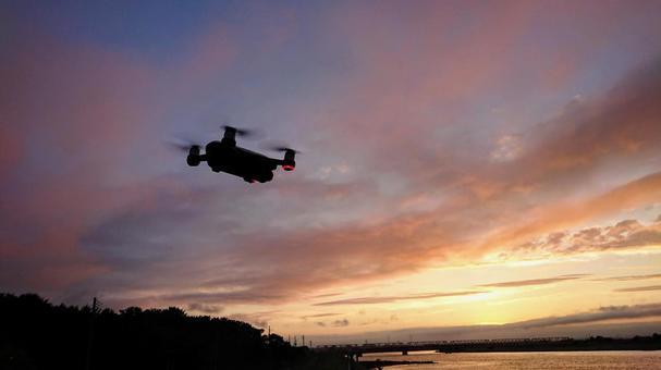 Drone shooting the setting sun