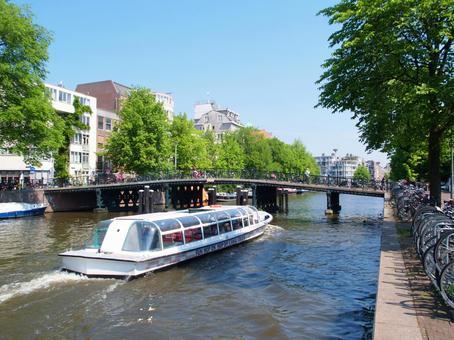 운하의 거리 풍경 암스테르담