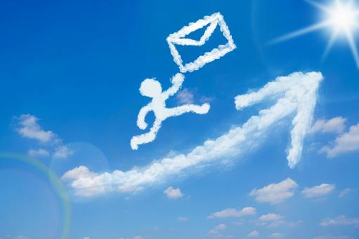 Clouds in the shape of a person carrying mail while jumping into the blue sky